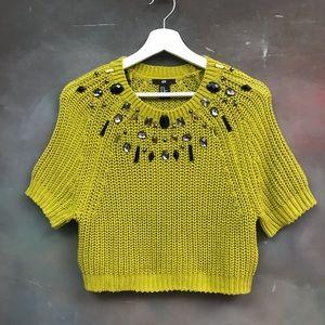 H&M Cropped Sweater Embellished Mustard